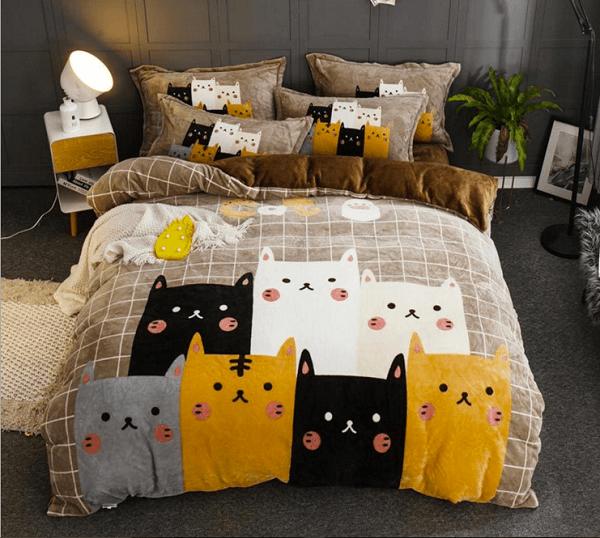 """Подростковое постельное белье """"HomyTex"""" фланель Cat family"""