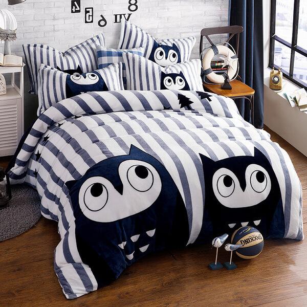 """Подростковое постельное белье """"HomyTex"""" фланель Owls"""