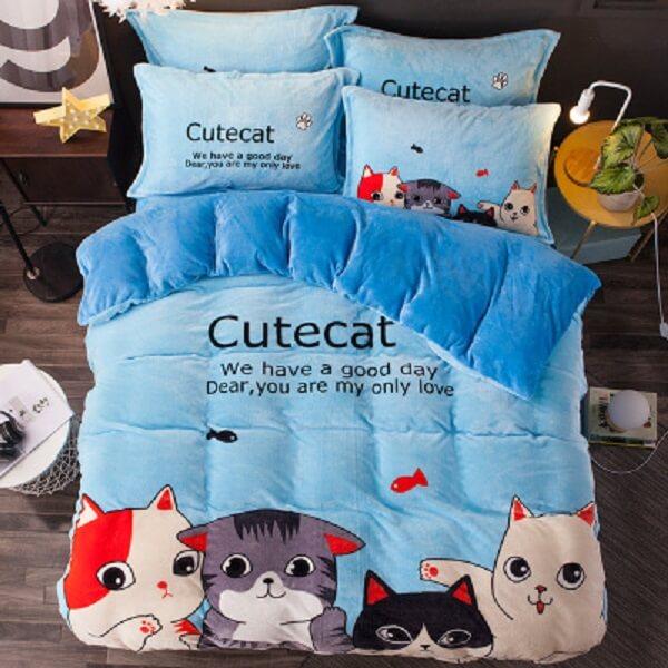 """Постельное белье """"HomyTex"""" фланель-микрофибра Cute cat"""