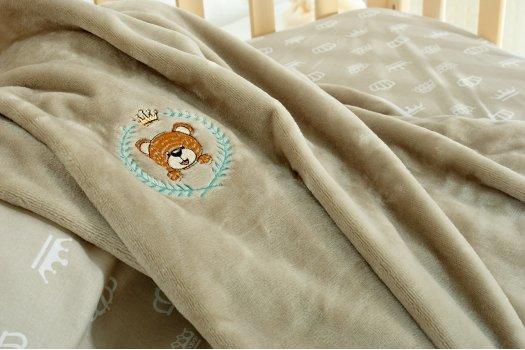 """Детское постельное белье с пледом """"Идея"""" Корона Бежевое"""