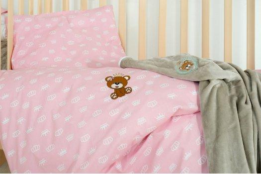 """Детское постельное белье с пледом """"Идея"""" Корона Пудра"""