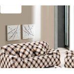 """Чехол на трехместный диван """"HomyTex"""" с рисунком Клетка коричневая"""