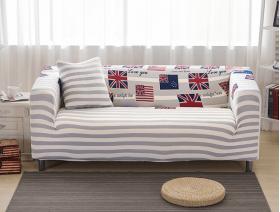 Чехол на двухместный диван  HomyTex с рисунком Британия серая