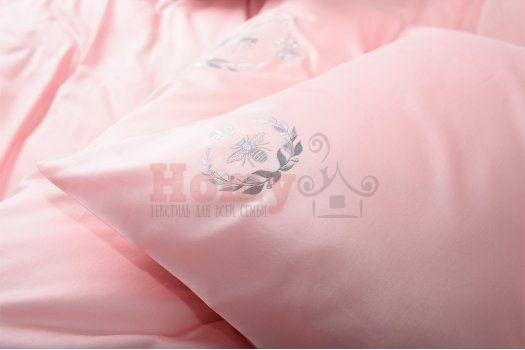 """Постельное белье с вышивкой """"Идея"""" сатин Пчелка/Лилия розовое"""