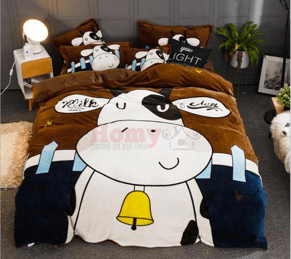"""Молодежное постельное белье """"HomyTex"""" фланель Big Cow"""