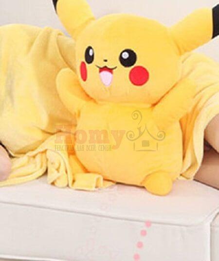 """Детский плед-игрушка HomyTex """"Пикачу"""" желтый"""