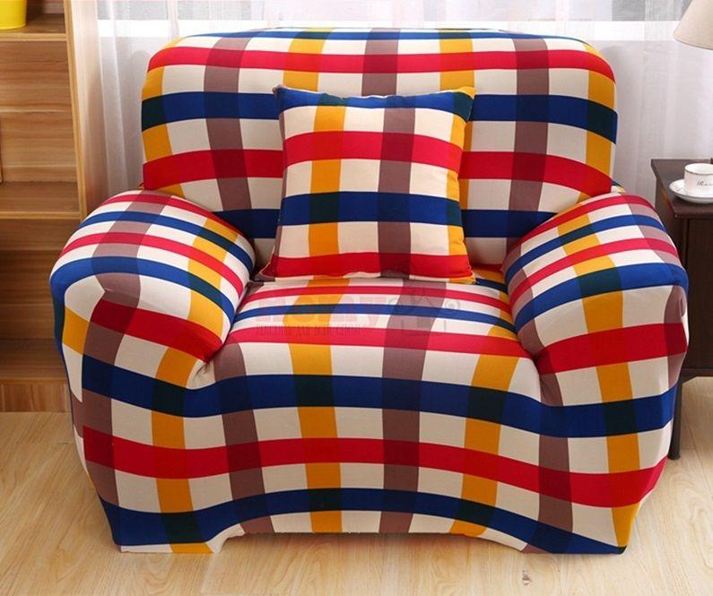 """Чехол на кресло """"HomyTex"""" с рисунком Клетка красно-синяя"""